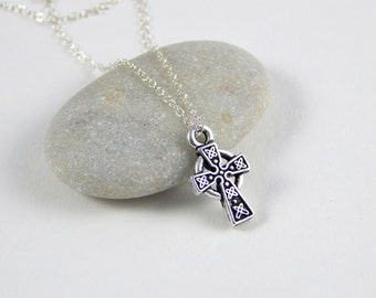 Silver Celtic Cross necklace, silver cross sterling silver necklace, religious jewlery, silver celtic cross, baptism gift 392