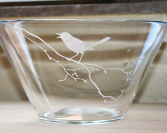 Etched glass salad/serving serving bowl.  Bird on a branch etching