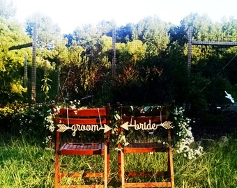 Wedding Chair Signs - bride and groom