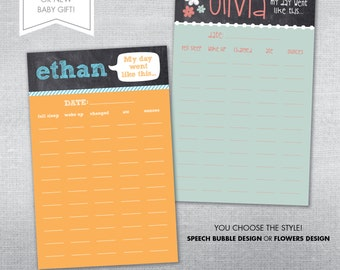 Baby Schedule notepad. Personalized baby schedule notepad.