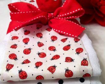 Ladybug Baby Burp Cloths - Baby Shower Gift