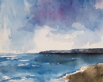Watercolor seascape,  PURPLE SKY, original watercolor, beach painting, seascape painting, waves, sky,watercolor seascape,dramatic clouds,