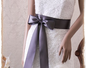 Pewter Satin Bridal Sash, Wedding Dress Sash, Satin Ribbon Bridal Belt,  Bridal Sash, Pewter Satin Ribbon Sash