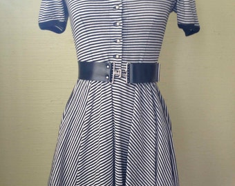 1980s Vintage 1980s French Black & White Striped Jersey Minidress with Black Piping