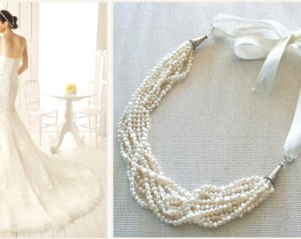 Boho Bridal Pearl Necklace, Strand Necklace, Bib Necklace, Cream Pearl, Freshwater Pearl, Statement Necklace, Bridal Jewelry Trends 2017