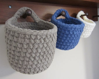 Hanging Baskets, Crocheted Storage Basket, Set Of 3 Nesting, Doorknob Hook  Or Handle