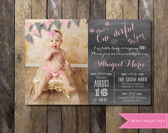 Chalkboard First Birthday Invitation with Picture Chalkboard