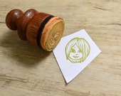 Short-Haired Girl Hand-Carved Rubber Stamp - mounted on wooden handle - 1.2 in.