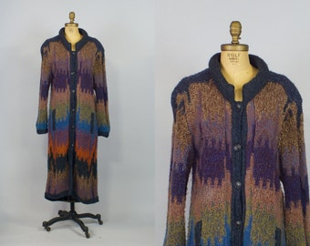 70s Sweater Coat / Vintage Long Wool Sweater Coat / Made in Italy