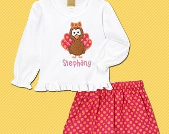 Girl's Thanksgiving Outfit with Turkey Shirt, Name and Coordinating Dot Skirt