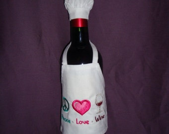 Wine Apron with Chef Hat - Peace, Love, Wine!