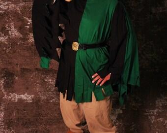Cotton Houppelande with Square Dags (Party-Colored) Men's Medieval Costume Garb SCA LARP Renaissance Knee-Length Shirt Tunic Surcoat
