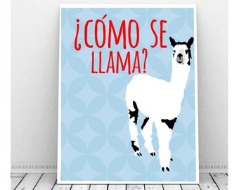 Como Se Llama Digital Art Print, Funny Art, Instant Download, Llama Art, Llama Print, Spanish Art, Quirky Art, Funny Print, Funny Art,