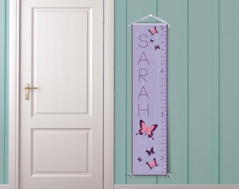 Butterflies in Purple Personalized Children's Growth Chart