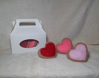 Valentines Day Heart Cookies, Felt Cookies, Pretend Play