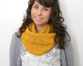 Mustard handknitted Cowl  for women made from 100% alpaca wool