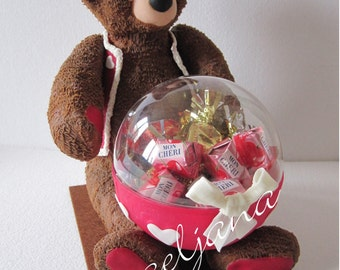 Teddy Bear and candy box! Cold Porcelain