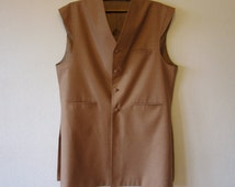 Bronze Brown Mens Vest Formal Sleeveless Trench Traditional Comfortable Long Pakistani Waistcoat