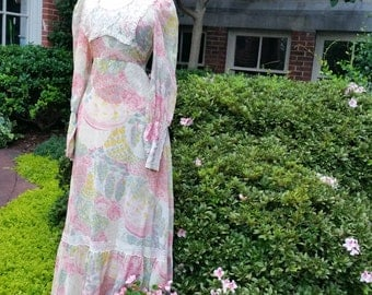 70s Gypsy Dress Renaissance floral maxi boho hippie long dress S
