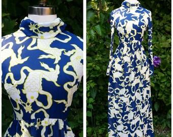 60s Maxi Dress Koi Fish Pisces Symbol Novelty Print XS/S