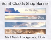 Sunlit Clouds Shop Banner - 4 Backgrounds, 4 Font Options - For Your Etsy Shop! Pre-made.