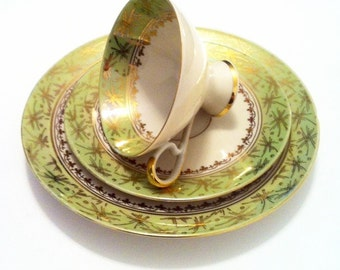1950's Tea Cup Saucer Dessert Plate - Pedestal Bottom - Green, White and Gold - Art Deco Vintage Retro - Made in Bavaria