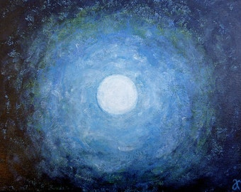 Commission a Painting, Blue Moon original art on canvas, small blue painting, full moon, 9 x 12, custom order, free shipping