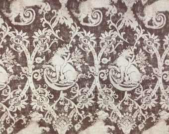 French Laundry Royal Dog  - Brown and Cream - Upholstery Fabric By The Yard