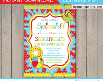Pool Party Invitation / Kids Pool Party Invitation / Pool Invitation / kids pool / Pool birthday / Pool Printable / Instant Download