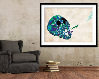 Skull, Quirky, Triangles, Lightning bolts, Laugh, Urban, Street art, Art Print on Paper, Print, Unique gift, Cool wall art, Underground