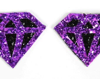 Black and Purple Glitter Diamond Shoe Clips (set of two), handmade in the UK