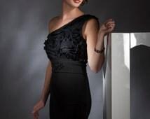 Black One Shoulder Ruffled Cocktail Dress