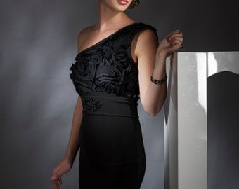 Black One Shoulder Ruffled Cocktail Dress