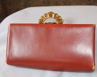 Brown Leather Evans Clutch Purse