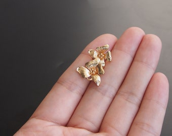 2PCS 24K Gold filled Brass Two flowers Charm Pendant double hole connector (#10001011)