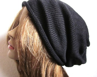 Extra Slouchy Black Knit Beanie Hat, womens's  Knit Cotton Cap, Streetstyle Indoor Yoga Tam
