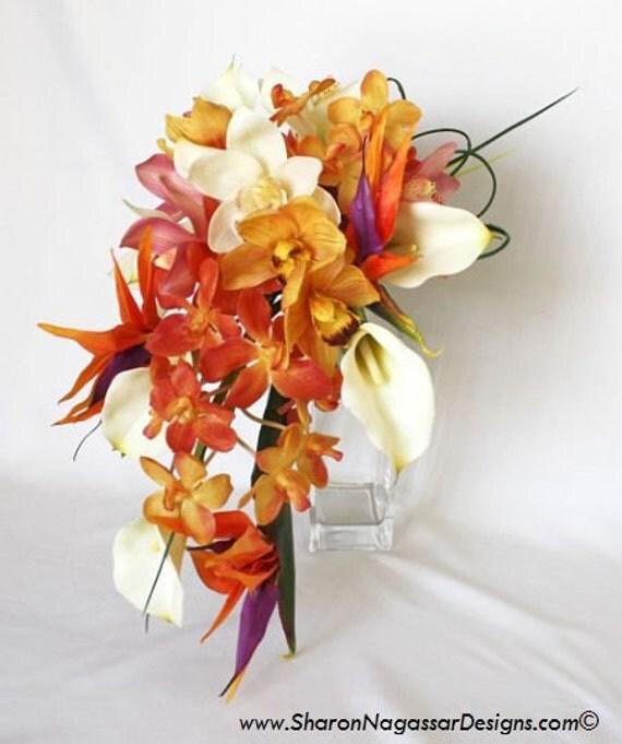 Articles similaires corail jaune orange ivoire violet for Bouquet de fleurs orange et jaune