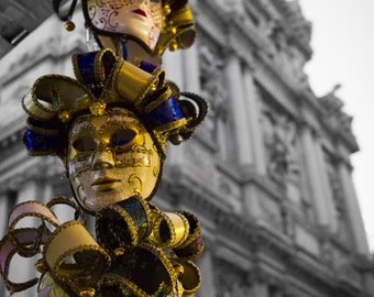 Venetian Masks, Glowing Gold after dark - Photography fine ART print