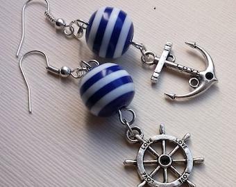 Nautical Earrings , Striped Earrings , Blue Earrings , Asymmetrical Earrings , Blue and White Stripe , Love , Anchor Earrings