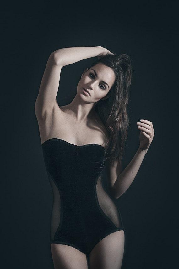 Velvet body suit.