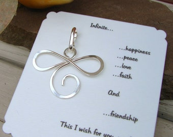 Infinite Pendant Necklace Sterling Silver Inspirational Gift Happiness, Peace, Love, Faith, Friendship Bridesmaid Gift Girls Weekend Gift