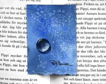Water Drops - Frosty Blue Drop an Original Watercolor Painting ACEO