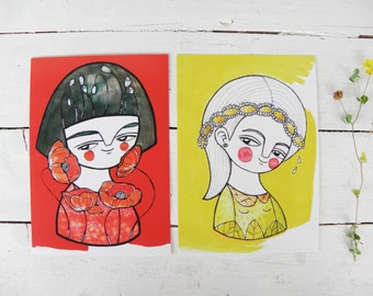 Postcards set, flower girls collection, illustrated cards
