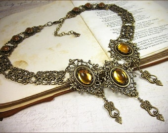 Renaissance Bridal Necklace, Topaz Necklace, Tudor, Medieval Wedding, Handfasting, Ren Faire Wedding, Marie Antoinette, Chateau