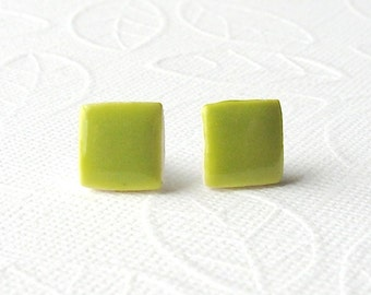 Square Porcelain Earrings. Greenery. Lime Green. Olive. Yellow Green. Ceramic. Clay. Mini Stud Earrings. Surgical Steel. Lightweight. Comfy