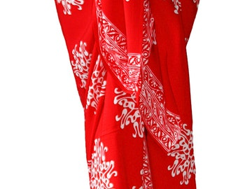 Batik Sarong Skirt Women's Clothing Sarong Red Pareo Wrap Skirt Beach Sarong Thai Flower Red & White Beach Cover Up Woman Swimmer and Surfer