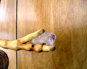 "Amethyst Oak Wand - 28.5"" long - Gamble Oak Wand  -  amethyst crystal at the point and a hemp tassel with Czech beads, leaves and crystals"