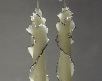Glitter Taper Candle Set of 2, Unique Taper Candles, Fancy Candle, Decorative Candles, Birthday Gift, Thank You Gift, White Silver or Gold