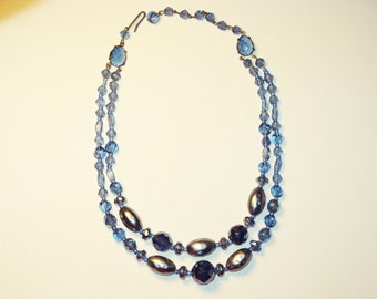 Vintage West Germany Double Strand Blue Glass Necklace (N-1-5)