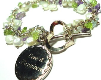 Charm Bracelet w Peridot Amethyst Pearl Gemstones Sterling Charm Bracelet w Engraved Sterling Charm Love and Happiness Sterling Heart Toggle
